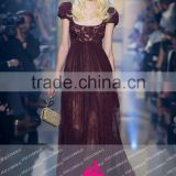 E04 Puffy Short Sleeve Lace Tulle vestido longo Burgundy Long Evening Dresses For Pageant Women