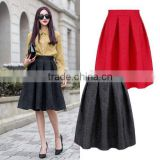 Stylish Lady Women's High Waist Vintage Style Pleated Swing Ball Gown Dark Print Skirt