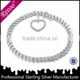sterling silver open interlocking hearts anklet