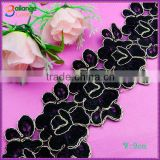 China manufacturer High quality Embroidered Chemical swiss voile black lace designs for garment