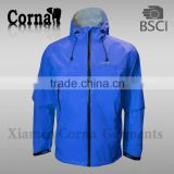 Men's blue nylon 3 layer windbreaker jacket
