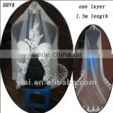 HHV8 2011 Wholesale New One Layer Lace Edged Beads Real Sample Bride Wedding Veil