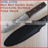 "(HORI-137WN) 12"" FullTang Black Wood Handle Garden Soil Weeding Digging Hori Hori Knife"
