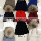 2016 Fashion winter lady man hot designer crochet acrylic knitted plain hot beanie cap racoon dog fur pompom