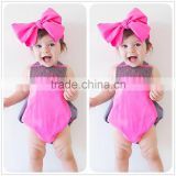 S33627W 2017 Summer Baby Girl Lace Flower Jumpsuit Princess Toddler Romper