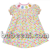 Easter eggs smocked bishop dress for girls
