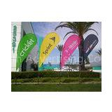 Advertising Teardrop Flags Custom , Full Color Open Feather Flags Signs Spike Base