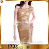 Sexy gold one shoulder women bandage dress