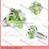 2mm Green Prong Set Square Gem Dermal Top Jewelry Body Piercing