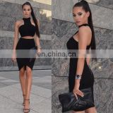 Amigo 2017 two pieces black bandage dress suit sexy evening dresses with halter crop top and midi irregular skirt for women