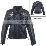 HMB-0292A WOMEN LEATHER JACKETS MOTORBIKE ROSE FASHION COATS