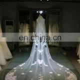 2016 Tulle Wedding Veils and Accessories Two Layers Veil With Comb Flowers Beading Long Bridal Veils VL086