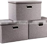 Large Collapsible Bins  Lids  Linen Fabric Containers Baskets Cube  Foldable Storage Boxes  with Cover for Home Bedroom