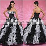 Beautiful Color Blocking Quinceanera Dress with Ruffles and Beading Ball Gown Yarn and Artificial Leather Quinceanera Dress