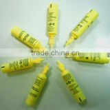 yellow Plastic tube for cosmetic pakaging with twist-off style black color silk screen 1.6ml