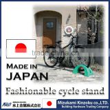 bicycle strage stand made in Japan with excellent design to prevent from falling down by wind and contact