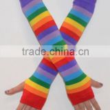New Cool Rainbow Pride Long Sleeve Fingerless Warm Arm Warmers Gloves Arm Sleeves
