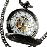WP117 ESS Black Stainless Steel Skeleton Mechanical Pocket Watch