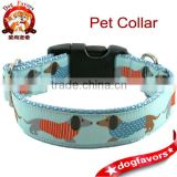 "Dog Collar - 1"" / 25mm - Dachshunds Kissing on Aqua - Martingale or Plastic Side Click Buckle - Light Blue - Light Turquoise - A"