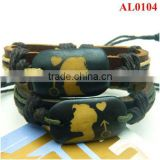 Hot Couple Leather Bracelet with hemp and cords macraming black ox bones squares AL0104