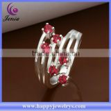 Factory direct price hot selling red zircon stone high quality 925 italian silver ring(CR368)