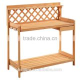 outdoor wooden garden work bench