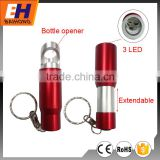 Multi-function Promotional 3 LED Mini Keychain with flashlight Torch with bottle opener