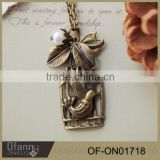 leaf and bird cage winter trend vintage pendant pearl necklace