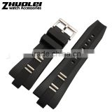 Hotsale 24mm waterproof black brown rubber watch strap for Men's with fashionable buckle