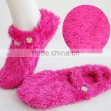 coloeful long plush socks/ Wholesale Anti Slip Slippers girls Winter Foot Warmer pure Cotton Drag/warm indoor slipper socks