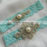 Wedding Garter,Vintage Garter set,Aqua Blue Stretch Lace with pearl and rhinestone applique                                                                                                         Supplier's Choice