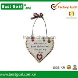 Buttons Decorated Wooden Heart Shape Plaque with Bow Strings