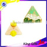 Custom high quality triangle shape lapel pin with beautiful natural scenery
