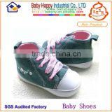 china supplier blue denim high-top canvas baby sneaker shoes
