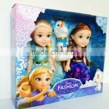 "DIHAO Frozen doll 2015 Cartoon Character frozen 7"" vinyl mini snow queen with bb whistle Elsa and Anna doll toys"