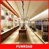Luxury style MDF/Wood clothing and bag display racks for men garment store decoration for hot sale