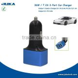 Shenzhen car charger factory wholesale 7.2A three port car usb charger car parts accessories