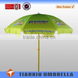 170T Polyester With Silver Coated Tropical Amblence Beach Sun Umbrella,waterproof wooden pole advertising sun beach umbrella