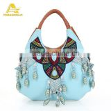 China Factory Wholesale Women's PU Leather Handbags Blue Vintage Shoulder Bags Handmade Bag