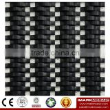IMARK Black Color Wavy Shape Crystal Glass Mosaic Tiles for Wall Backsplash Code IXGM8-024