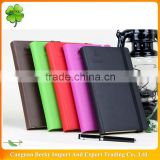Colorful leather cover line printing logo embossed office/school writing notepad/diary with elastic ribbon closure