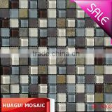 while Matt Glass mixed brown stone Mosaic for shower HG-Z003