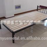 Metal Bed with Wood Headboard and Slats