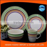 Chinese porcelain dishes dinner set hand-made stoneware plate and bowl and dishes colorful tableware