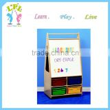 Wooden material with storage box magnetic children paint easel parts