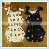 Wholesale Newborn infant baby clothes girl romper plain custom print navy dark blue onesie pom poms lipstick bubble rompers