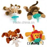 EN71 CE Standard Plush Giraffe Pacifier Toy Stuffed Animal Silicone Teether Toys