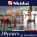 Dining Table with Glass Top and 8 Chairs Teak 9 Piece Dining Set Wood A-9