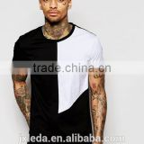 Fashion men cut & sew square panel round collar short sleeve plain t-shirt wholesale custom factories
