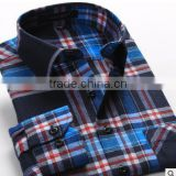 2016 Hot new product for alibaba fashionable uk style microfiber flannel plaid long sleeve latest shirt designs for men